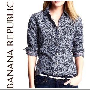 Banana Republic Tops - Banana Republic Soft Wash Chambray Floral Shirt XL